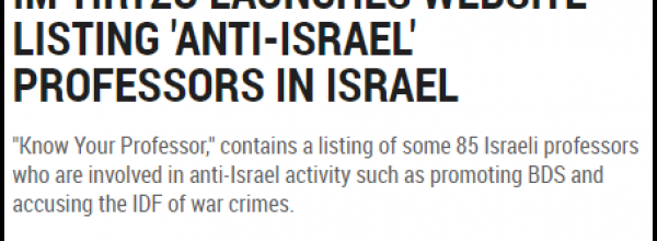 New Website Provides Information on Anti-Israel Academics in Israel